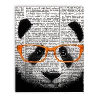 Kavka Designs Panda Grey/Black/Orange Canvas Art