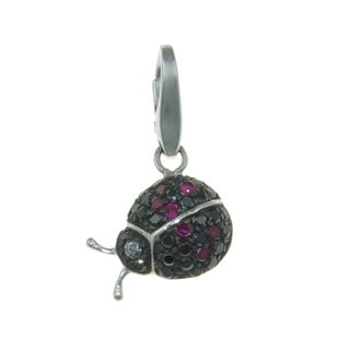 Isla Simone Sterling Silver Lady Bug with Red and Black Cubic Zirconia Charm