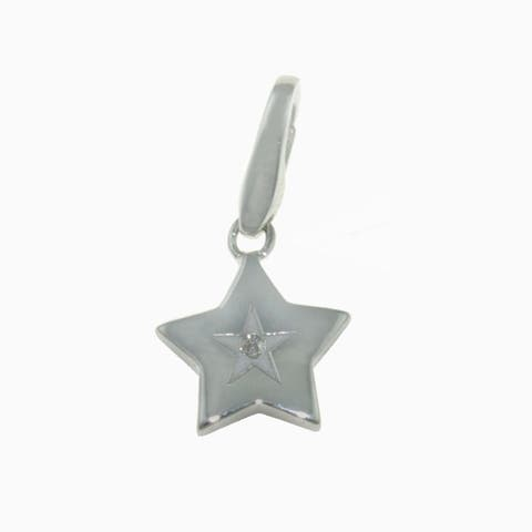 Isla Simone Sterling Silver Star with Diamond Nested In Star Charm
