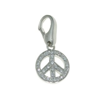 Isla Simone Sterling Silver Peace Sign with Cubic Zirconia Charm