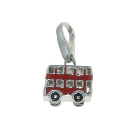 Isla Simone Sterling Silver Red Enamel Double-Decker Bus Charm