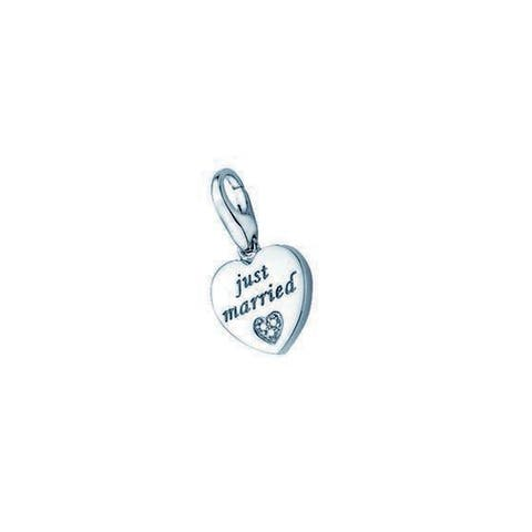 "Isla Simone Sterling Silver ""Just Married"" Heart Charm"