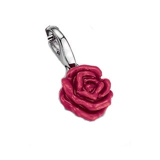 Isla Simone Sterling Silver Red Rose Charm