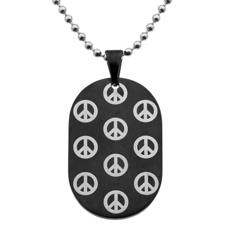 Stainless Steel Dogtag with Dark Brown Plating and Peace Signs