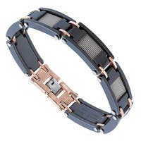 Stainless Steel and Ceramic Link Bracelet with Mesh Inserts