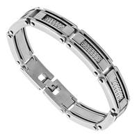 Stainless Steel Link Bracelet with Mesh Inserts