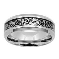 Stainless Steel and Carbon Fiber Ring - Silver