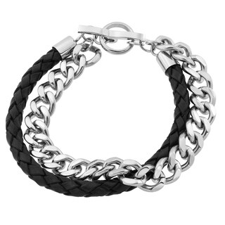 Stainless Steel and Black Leather Bracelet