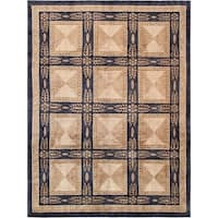 "Pasargad Tibetan Beige/Black Hand-Knotted Lamb's Wool Area Rug (5'11"" X  9' 6"")"