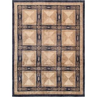 "Pasargad Tibetan Beige/Black Hand-Knotted Lamb's Wool Area Rug (5'11"" X 9' 6"")"