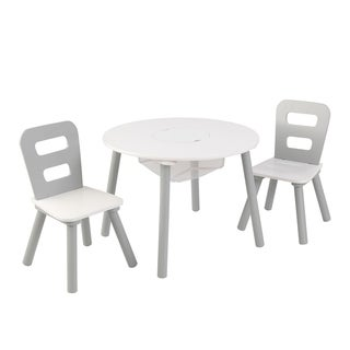 Round Storage Table & 2 Chair Set - Gray & White - Multi