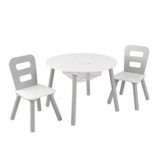 Round Storage Table & 2 Chair Set - Gray & White - Multi