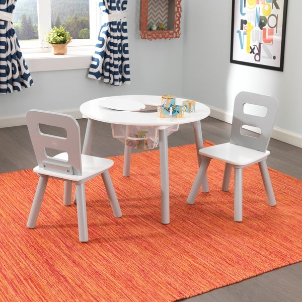 Round Storage Table & 2 Chair Set - Gray & White - Multi. Opens flyout.