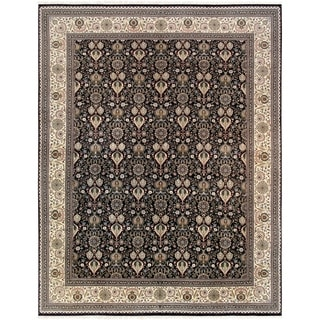 "Tabriz Collection Hand-Knotted Black/Ivory Wool Area Rug (11'10"" X 15' 8"")"