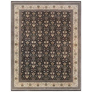 """Tabriz Collection Hand-Knotted Black/Ivory Wool Area Rug (11'10"""" X 15' 8"""") https://ak1.ostkcdn.com/images/products/18065223/P24227761.jpg?impolicy=medium"""