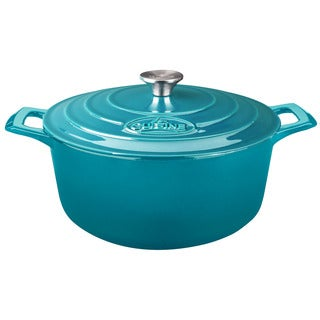 La Cuisine Round 2.2 Qt. Cast Iron Casserole with Enamel Finish, High Gloss Teal