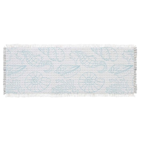 White Coastal Christmas Holiday Decor VHC Arielle Runner Cotton Nature Print Embroidered