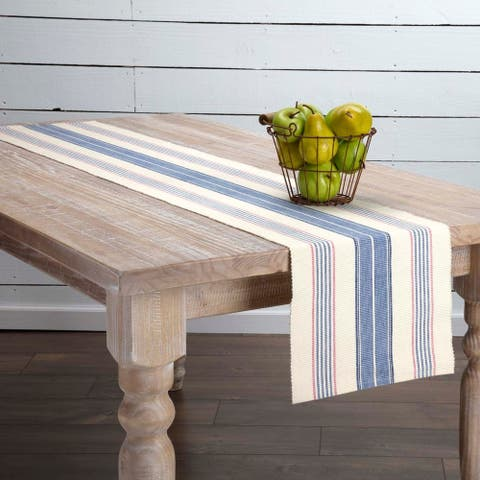 Blue Farmhouse Tabletop Kitchen VHC Cadence Runner Cotton Striped