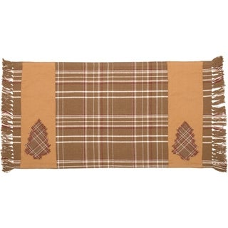 Tan Rustic Holiday Decor VHC Evergreen Runner Cotton Plaid Appliqued - Runner 13x24