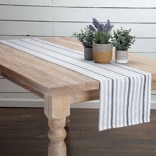 White Farmhouse Tabletop Kitchen VHC Blake Runner Linen Striped Distressed Appearance