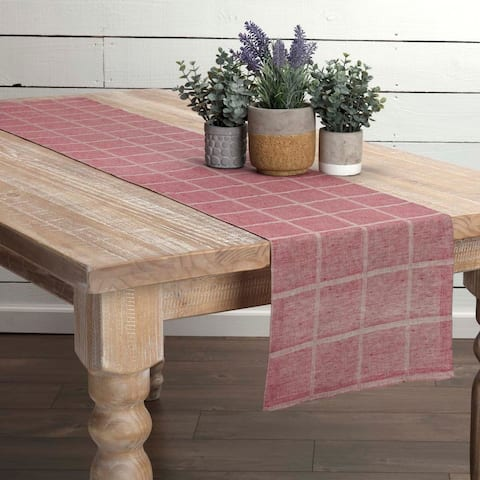 Farmhouse Tabletop Kitchen VHC Julie Runner Cotton Linen Blend Windowpane Textured