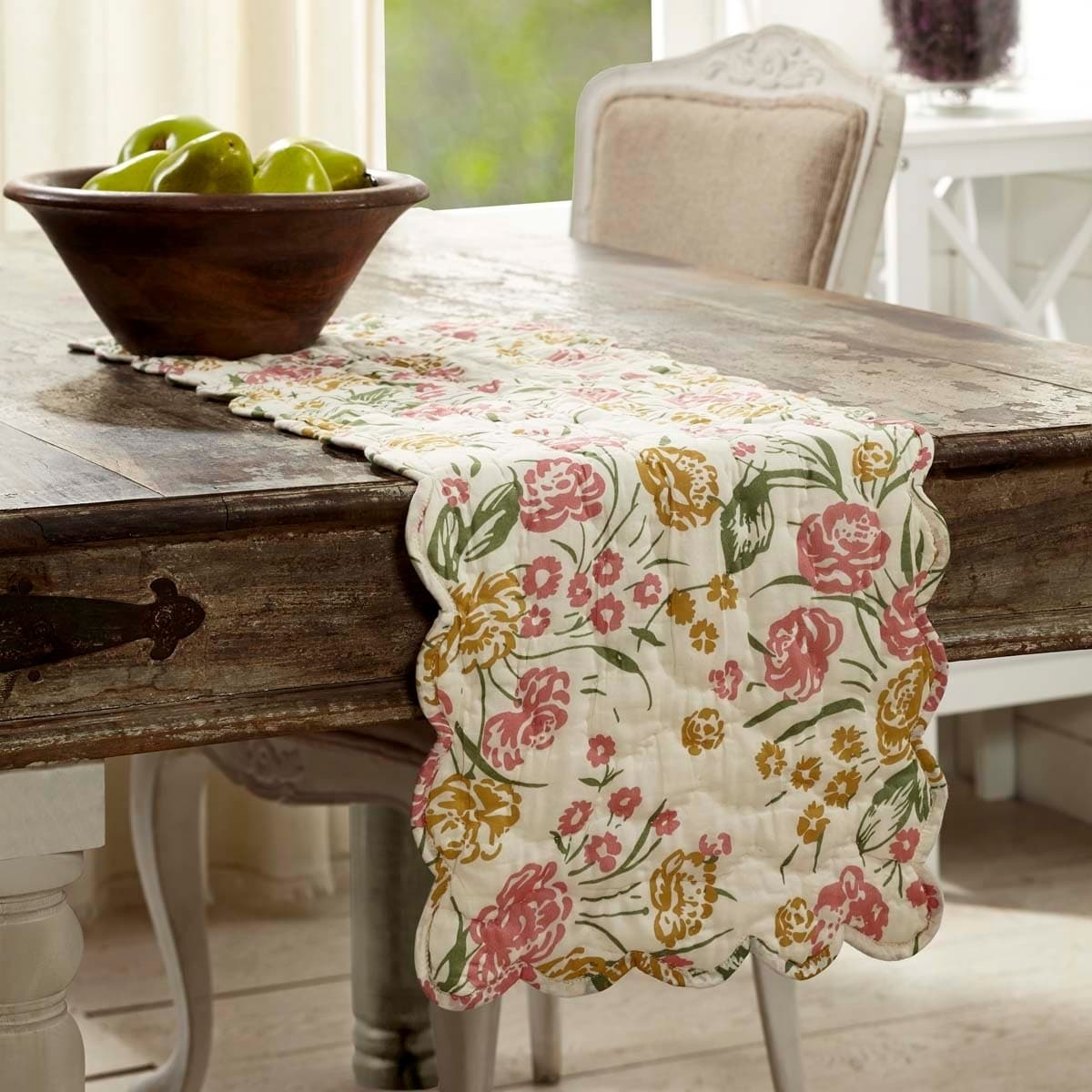 VHC Brands Farmhouse Tabletop /& Kitchen Mariell White Quilted Runner 13 x 36 19793
