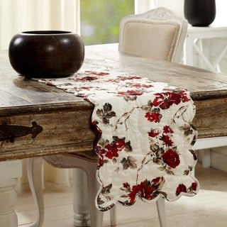 White Farmhouse Tabletop Kitchen VHC Mariell Runner Cotton Floral - Flower Voile