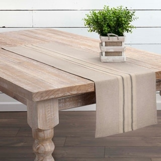 Tan Farmhouse Tabletop Kitchen VHC Sawyer Mill Runner Cotton Striped Appliqued Chambray