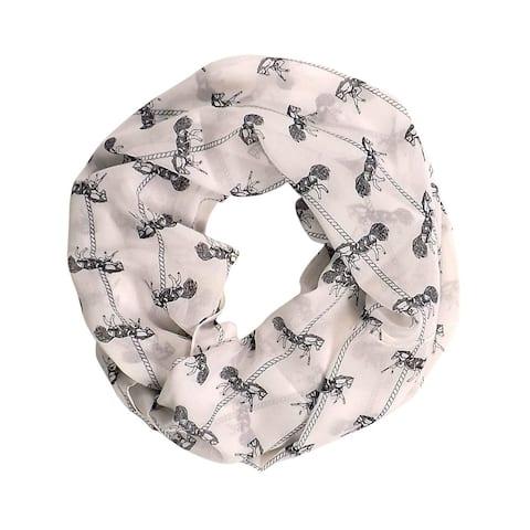 Peach Couture Vintage Women's Horse Print Off-White Loop Infinity Scarf - Medium