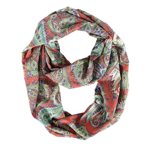 Peach Couture Vintage Women's Bohemian Coral Infinity Loop Scarf