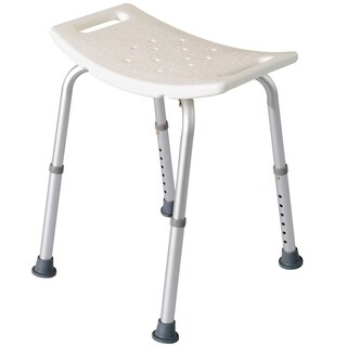 HomCom Rectangular Medical Shower Stool Aluminum White