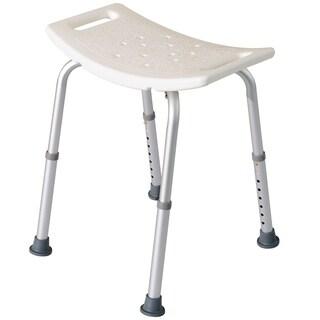 HomCom Rectangular Medical Shower Stool - Aluminum/White