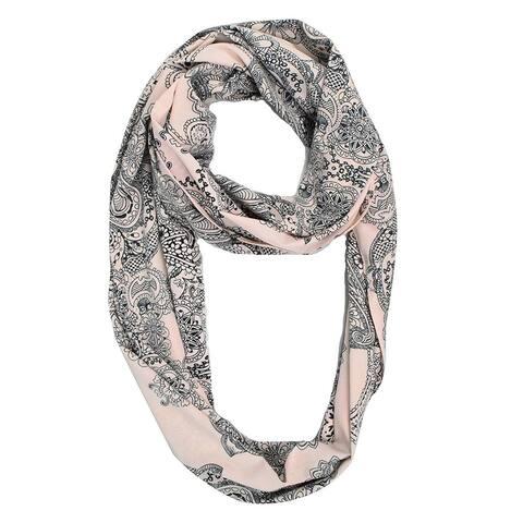 Peach Couture Henna Paisley Print Boho Infinity Loop Scarf - Medium