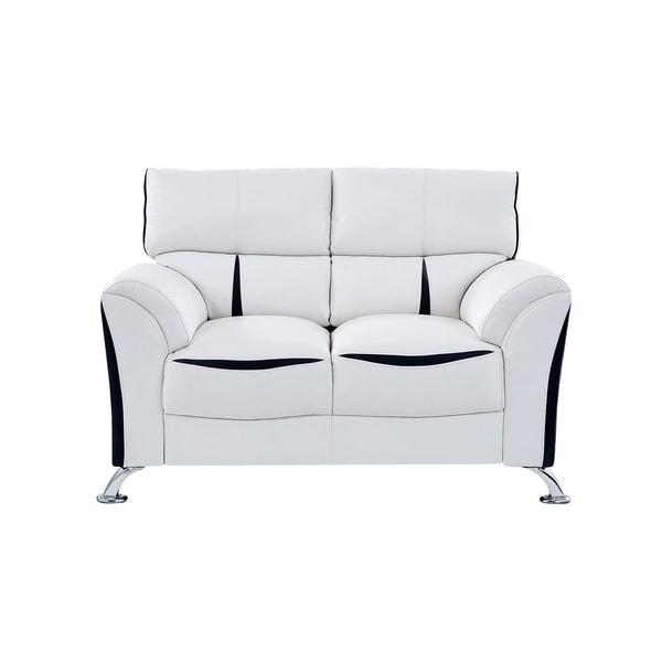 Shop Global Furniture White And Black Loveseat