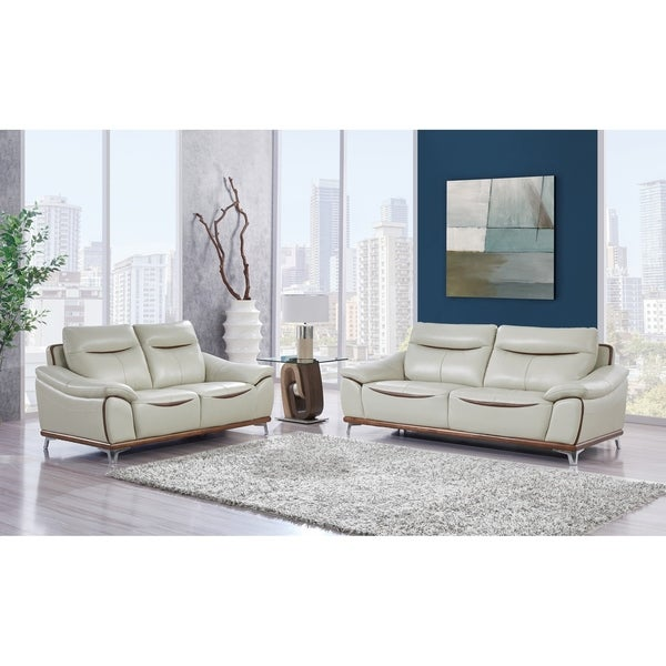 Global Furniture Blanche Pearl/Agnes Auburn Leather Gel Sofa   Free  Shipping Today   Overstock.com   24227940