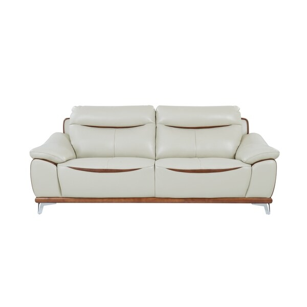 Global Furniture Blanche Pearl/Agnes Auburn Leather Gel Sofa