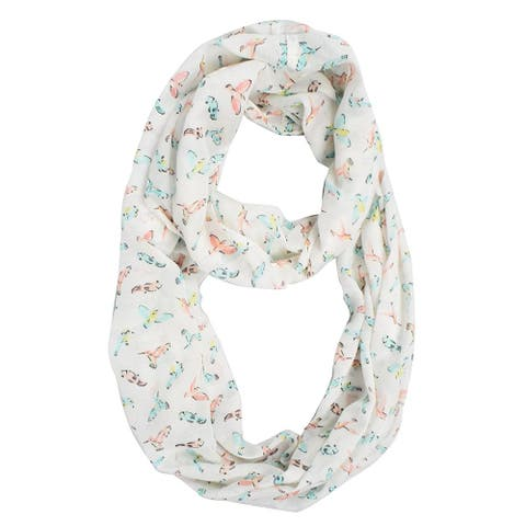 Peach Couture Sheer Bird Print Infinity Loop Scarf - Medium
