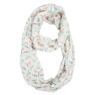 Link to Peach Couture Sheer Bird Print Infinity Loop Scarf - Medium Similar Items in Scarves & Wraps