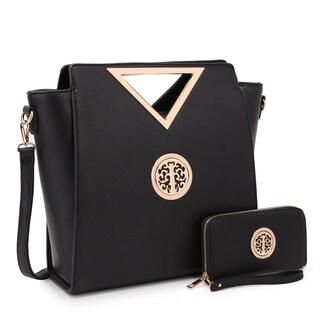 Dasein Medium Classic Satchel Handbag with Matching Wallet