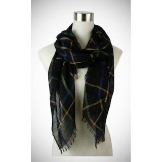 Le Nom Vintage plaid patterned scarf with eyelash trimming