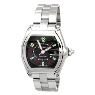 Pre-owned 35mm Cartier Stainless Steel Roadster Watch with Black Dial Style W62025V3