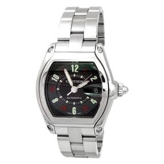 Pre-owned 35mm Cartier Stainless Steel Roadster Watch with Black Dial Style W62025V3|https://ak1.ostkcdn.com/images/products/18065721/P24228145.jpg?impolicy=medium