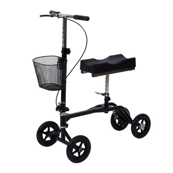 HomCom Steerable Knee Walker Scooter with Basket Black
