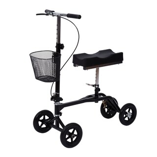 HomCom Steerable Knee Walker Scooter with Basket Black