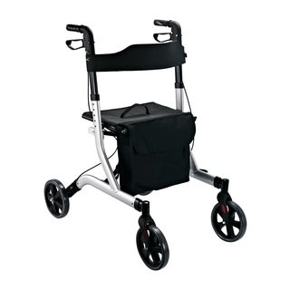 HomCom Aluminum Folding Rollator Walker with Seat and 8-inch Wheels