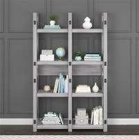 Avenue Greene Woodgate Rustic White Bookcase Room Divider