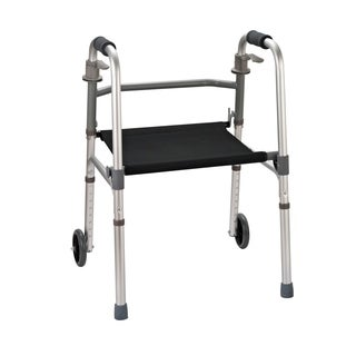 HomCom Folding Mobility Rollator Walker with 2 Wheels and Stool