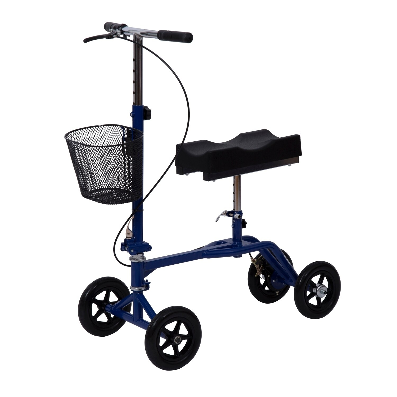 HomCom Steerable Knee Walker Scooter with Basket Blue