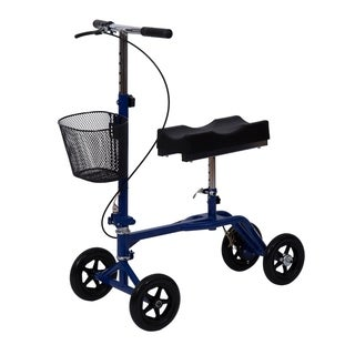 HomCom Steerable Knee Walker Scooter with Basket Blue