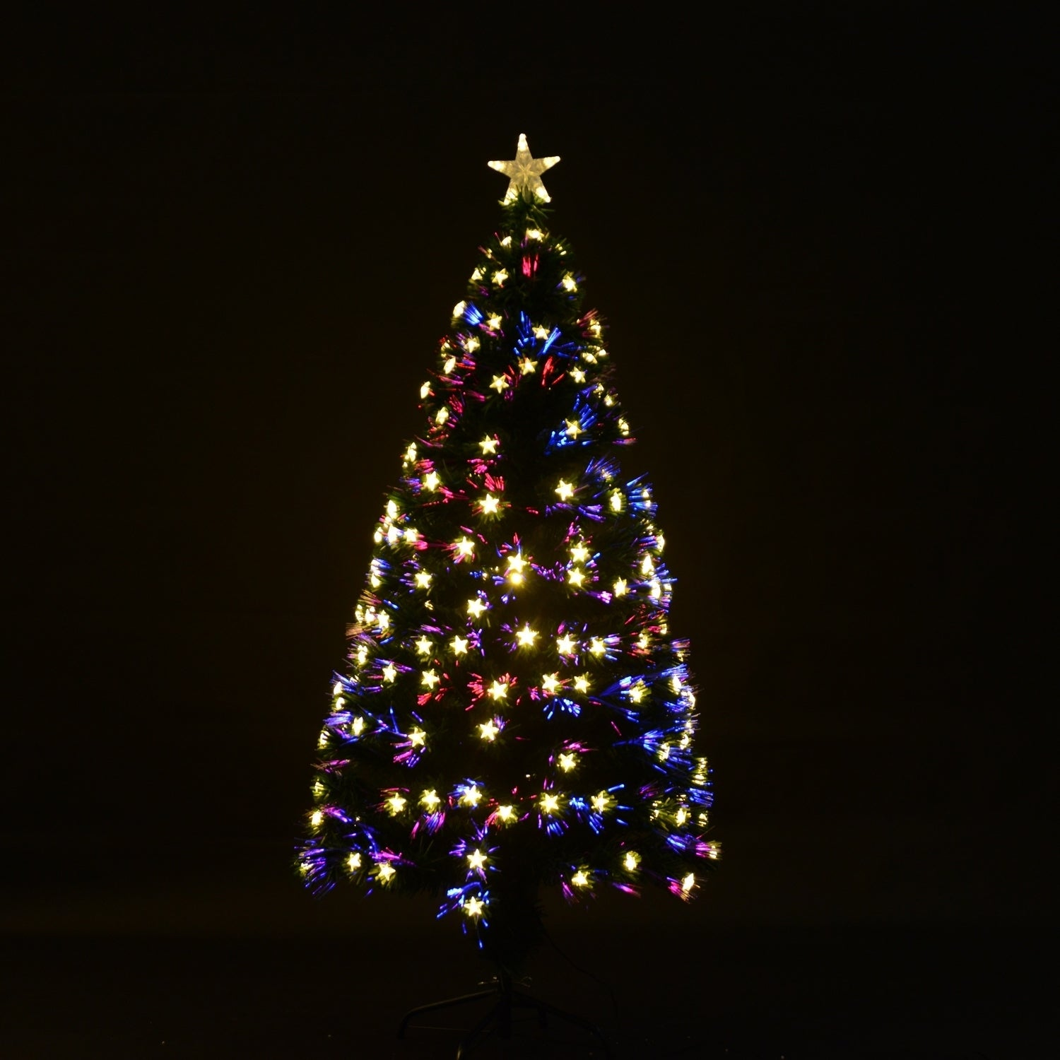 Pre Lit Rotating Christmas Tree.Homcom 7 5 Artificial Rotating Pre Lit Multicolor Star Led Christmas Tree With Stand